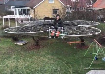 Механик поднялся в воздух на самодельном «дроне»